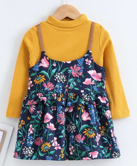 Babyoye Cotton Frock With Full Sleeves Tee Floral Print - Yellow Blue