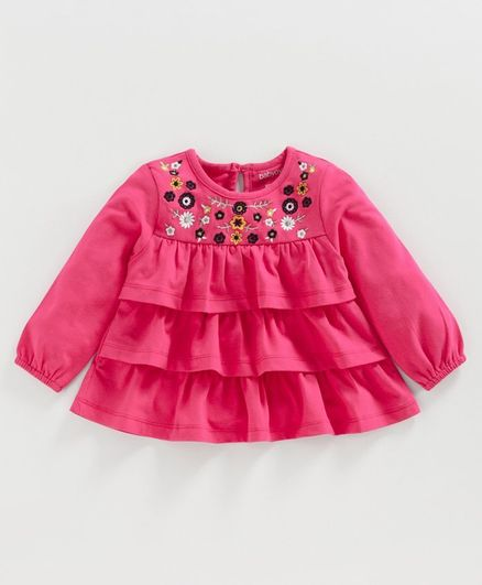 Babyoye Peasant Sleeves Layered Top Floral Embroidery - Pink
