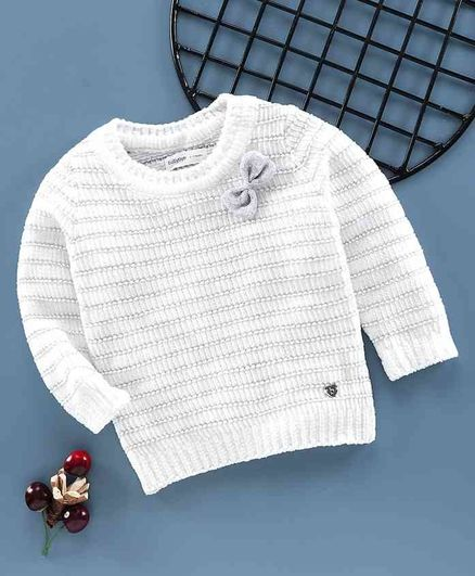 Babyoye Full Sleeves Light Winter Wear Sweater Bow Applique - White