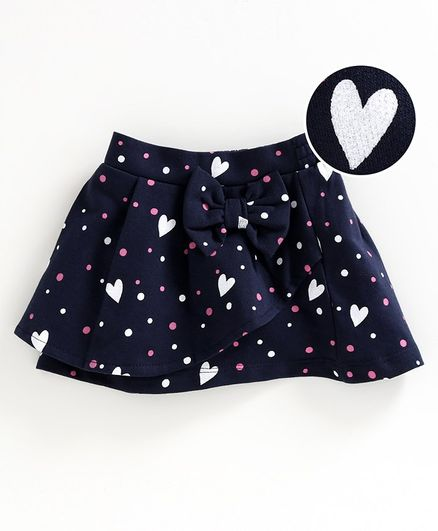 Babyoye Cotton Skirt Bow Applique - Navy Blue