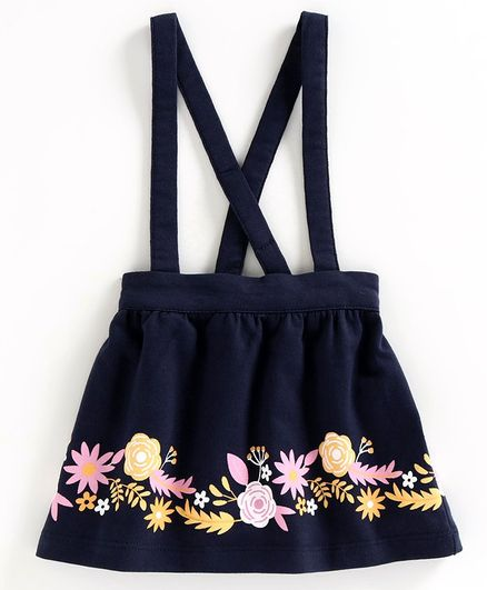 Babyoye Floral Printed Skirt with Attached Suspenders - Navy Blue