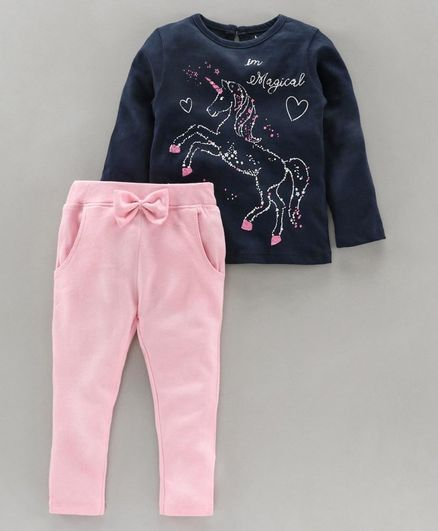Babyoye Full Sleeves Winter Wear Top and Legging Set Unicorn Print - Navy Blue