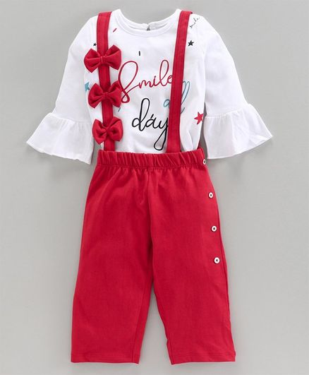 Babyoye Full Sleeves Winter Wear Top and Pant with Suspenders Set Text Print - Red White