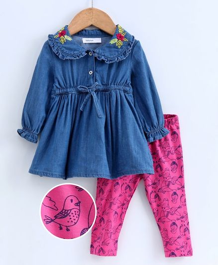 Babyoye Full Sleeves Frock with Legging - Pink Blue