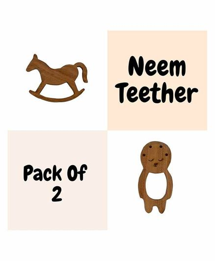 Wufiy Horse & Baby Shape Neem Teether Glazed With Virgin Coconut Oil Pack of 2 - brown