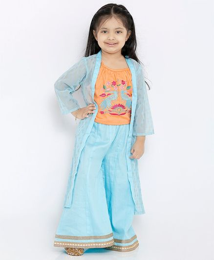 Babyoye Indo Western Top and Palazzo Set with 3/4th Sleeves Jacket Floral Embroidery - Blue