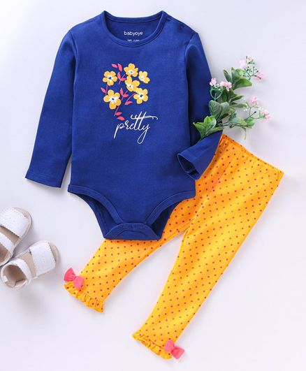 Babyoye Full Sleeves Onesie with Leggings and Bib Floral Print - Navy Blue
