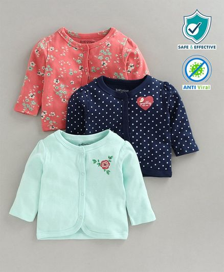 Babyoye Full Sleeves Floral & Polka Dotted Jhablas Set of 3 - Pink Blue
