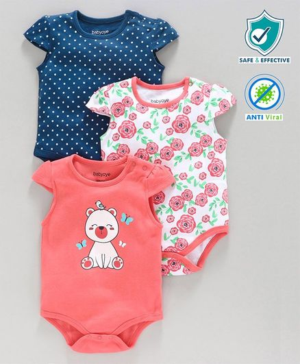 Babyoye Cap Sleeves Printed Onesie Pack of 3 - Blue Peach