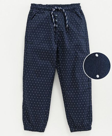 Babyoye Full Length Lounge Pant Polka Dot Print - Navy