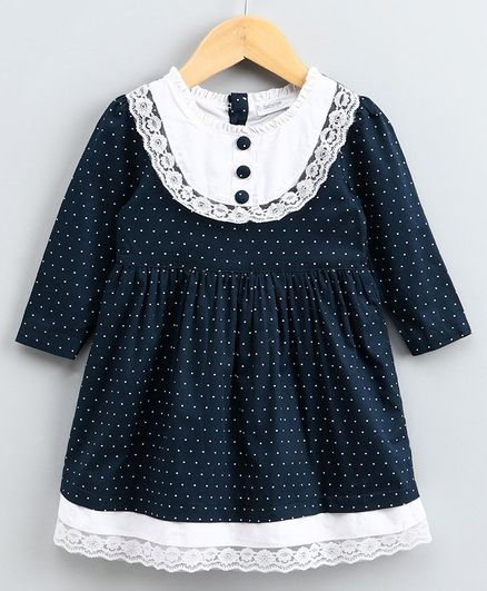 Babyoye Full Sleeves Polka Dot Frock Lace Detail - Navy Blue