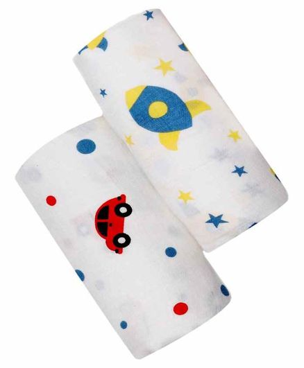 Chotto Cotton Muslin Baby Swaddle Pack of 2 - White