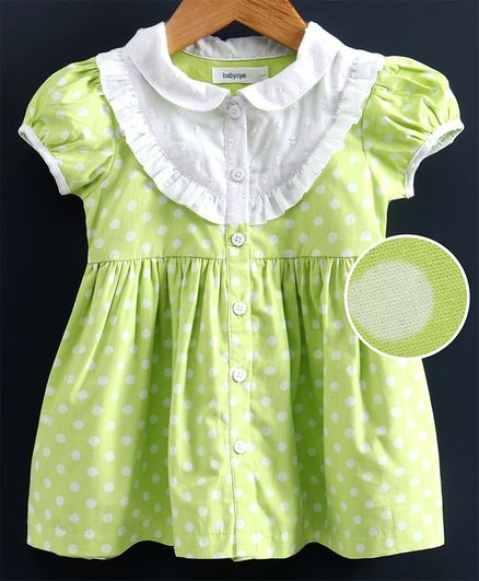 Babyoye Puff Sleeves Polka Dot Frock - Light Green