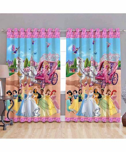Muren Disney Princess 3D Window Curtains Pack of 2 - Multicolor