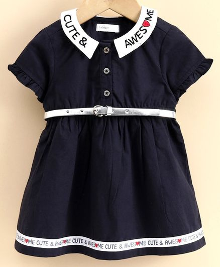 Babyoye Short Sleeves Frock With Belt Text Embroidery - Navy Blue