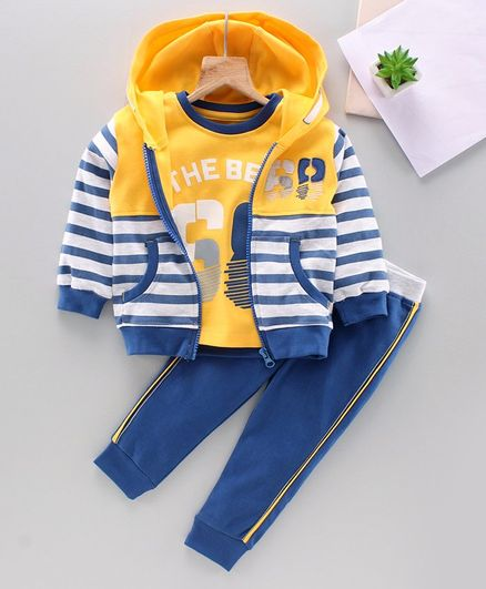 Babyhug Tee & Track Pant With Full Sleeves Stripe Hooded Sweat Jacket Numeric 68 Print -Yellow Blue