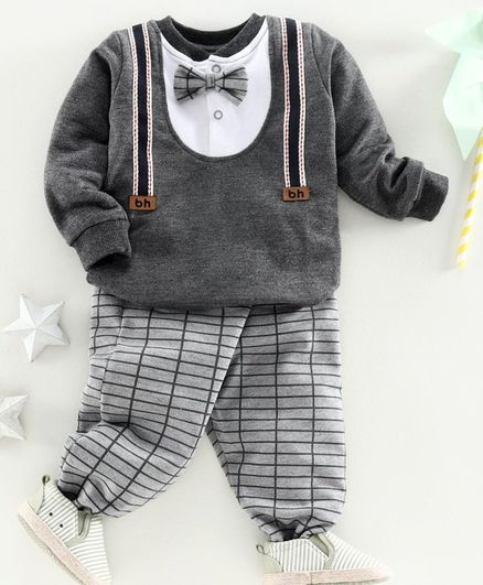 Babyhug Full Sleeve Party Wear Tee & Lounge Pant -  Grey