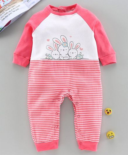 Babyhug 100% Cotton Full Length Romper Bunny Print - Pink