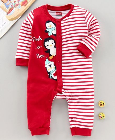 Babyhug  Full Sleeves 100% Cotton  Romper - Red