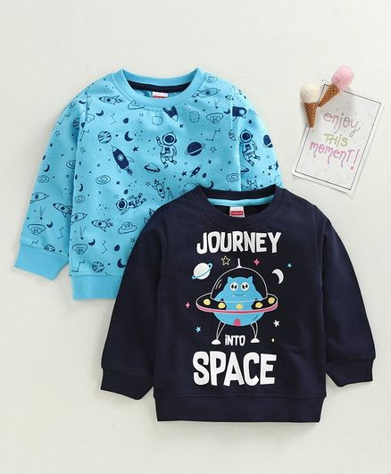 Babyhug Full Sleeves Sweatshirt Space Print Pack of 2 - Blue