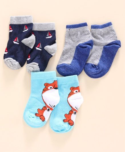 Mustang Ankle Length Socks Pack of 3 - Multicolor