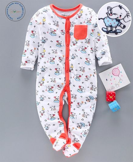 Babyoye Supima Cotton Sleep Suit Elephant Print - White Orange