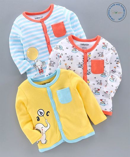 Babyoye Supima Cotton Full Sleeves Vests Elephant Print Pack of 3 - Yellow White Blue