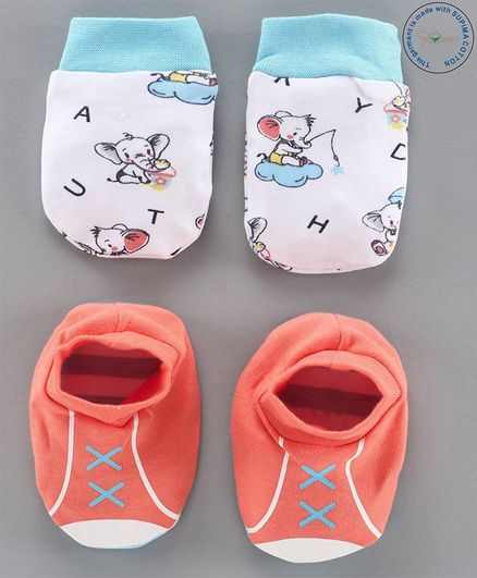 Babyoye Cotton  Mittens & Booties Set - Coral Blue