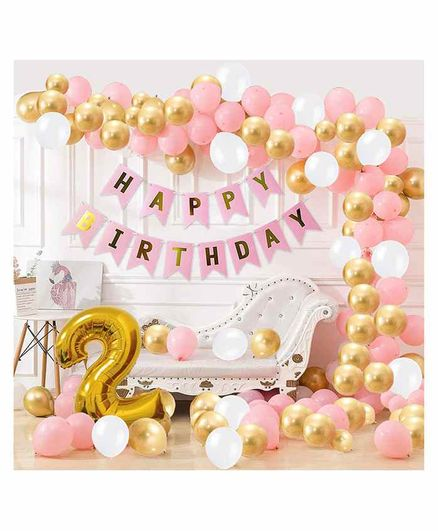 Party Propz 2nd Happy Birthday Balloons Decoration Kit Pink - Pack of 90