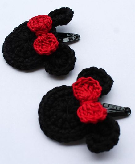 Woonie Mouse Design Handmade Hair Clip - Black