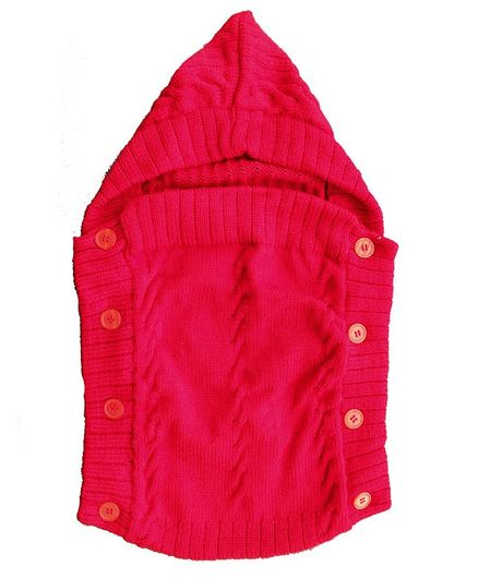 Woonie Solid Colour Machine Knit Hooded Sleeping Bag - Red