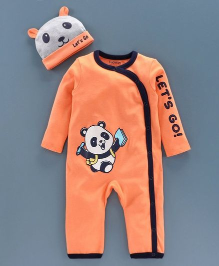 BabyoyeFull Sleeves Romper with Cap - Orange