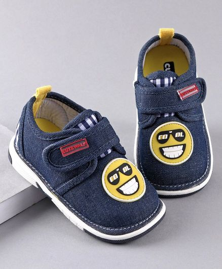 Cute Walk by Babyhug Casual Shoes Smiley Patch - Navy Blue