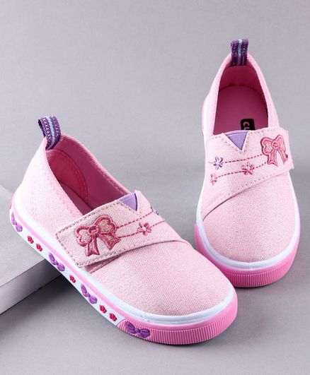 Cute Walk by Babyhug Casual Shoes Bow Embroidery - Light Pink