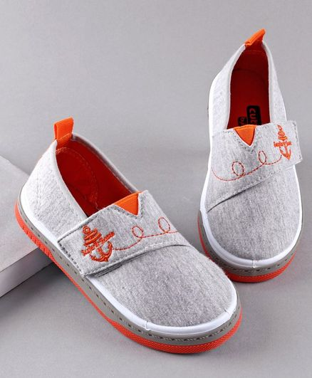 Cute Walk by Babyhug Casual Shoes Anchor Embroidery - Grey