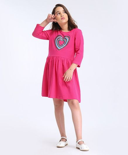 Pine Kids Full Sleeves Biowashed Frock Heart Print - Pink