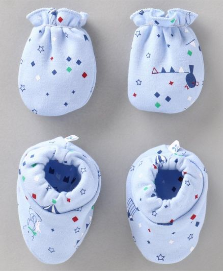 Child World Mittens and Booties Set - Blue