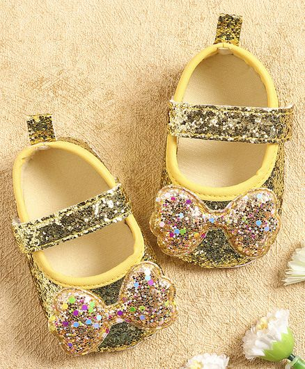KIDLINGSS Glitter Sequined Bow Applique Booties - Yellow