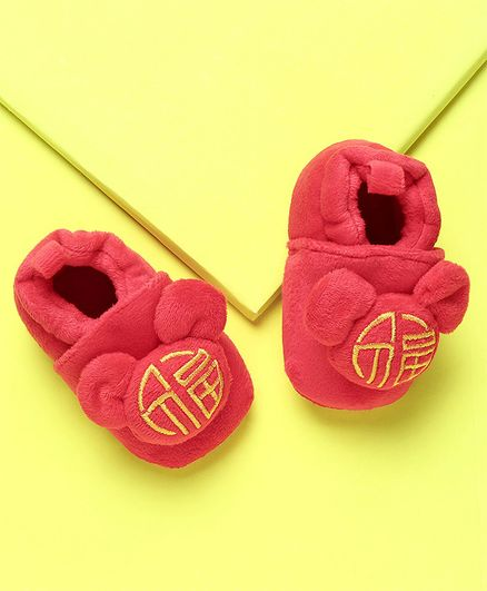 KIDLINGSS Bunny Ears Applique Booties - Red