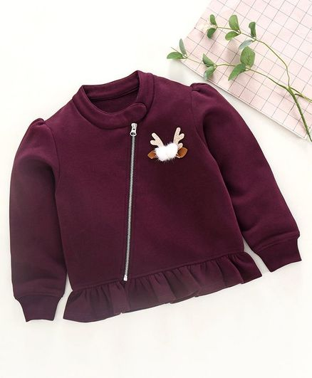 Stupid Cupid Solid Full Sleeves Side Zipper Winter Top - Burgundy
