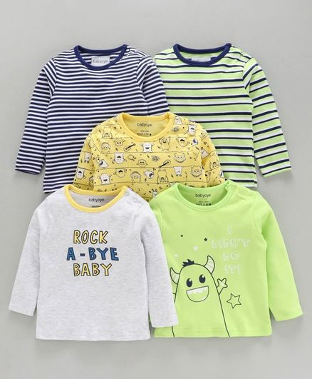 Babyoye Full Sleeves T-Shirt Pack of 5 - Green Yellow Blue