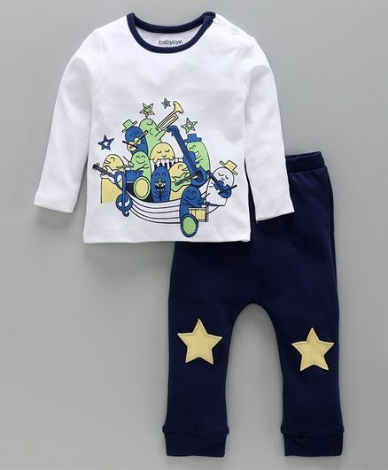 Babyoye Full Sleeves Cotton Tee & Lounge Pant Band Print - White Navy Blue