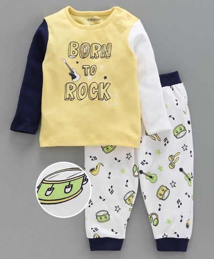 Babyoye Cotton Full Sleeves Tee with Lounge Pant Musical Instrument Print - Yellow White
