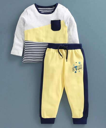 Babyoye Cotton Blend Full Sleeves Tee & Lounge Pant - White Yellow
