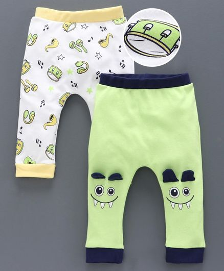 Babyoye Full Length Diaper Leggings Pack Of 2 - White Green
