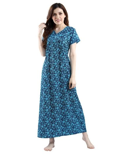 Piu Women's Half Sleeves Floral Print Maternity Wear - Blue