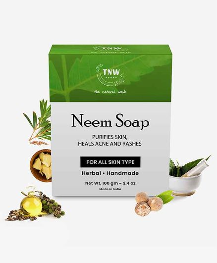 TNW THE NATURAL WASH Handmade Purifying Neem Soap For Acne, Pimples And Rashes Facial And Body Bathing Bar (Paraben/Sulphate/ Dye/ Silicon Free)