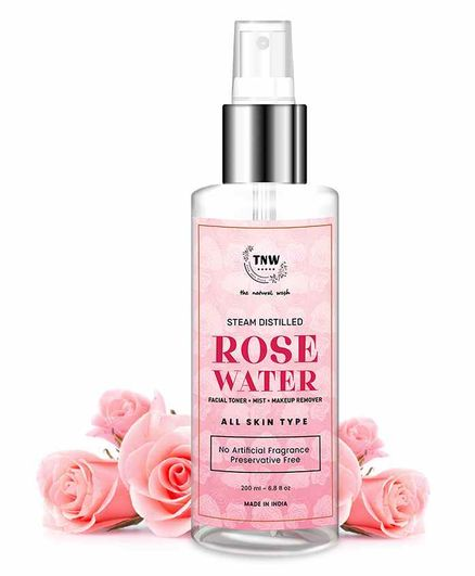 TNW THE NATURAL WASH Steam Distilled Rose Water/ Toner/ Makeup Remover (Free from Artificial Fragrance & Alcohol) - 200 ml