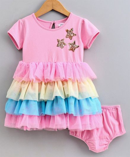 Babyoye Short Sleeves Layered Frock With Bloomer Sequinned Star- Pink Blue Yellow