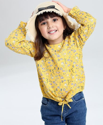 Babyoye Full Sleeves Woven Top Floral Print - Yellow